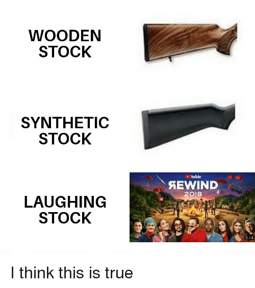 True, youtube.com, and Think: WOODEN  STOCK  SYNTHETIC  STOCK  YouTube  2018  LAUGHING  STOCK  8:14 I think this is true