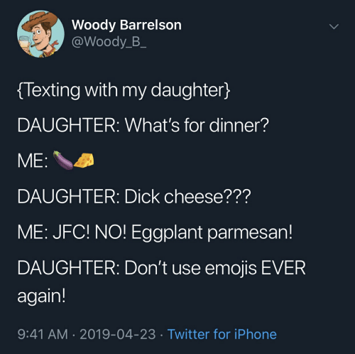Woody Barrelson Texting With My Daughter DAUGHTER What's for