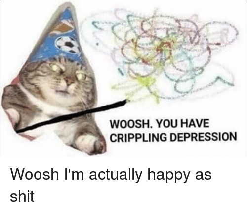 Woosh You Have Crippling Depression Woosh Im Actually Happy As Shit