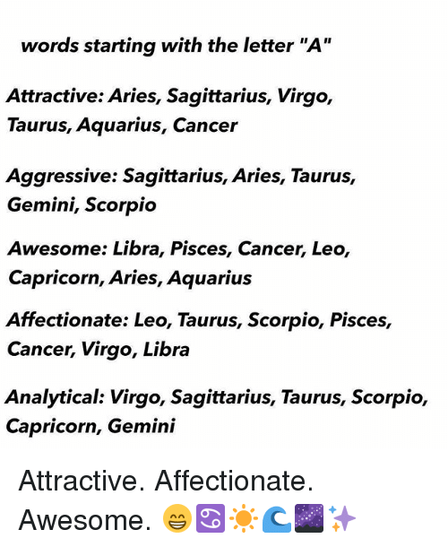 Words Starting With the Letter a Attractive Aries Sagittarius