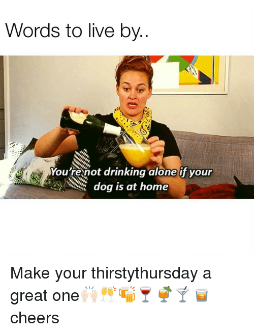 Being Alone, Drinking, and Funny: Words to live by..  Youfrenot drinking alone if your  dog is at home Make your thirstythursday a great one🙌🏻🥂🍻🍷🍹🍸🥃 cheers