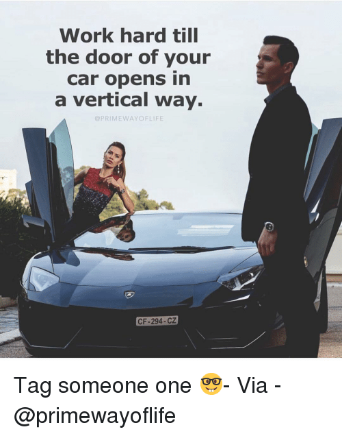 Memes, Work, and Tag Someone: Work hard till  the door of your  car opens in  a vertical way.  PRIMEWAYOFLIFE  CF-294-CZ Tag someone one 🤓- Via - @primewayoflife