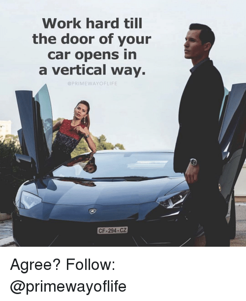 Memes, Work, and 🤖: Work hard till  the door of your  car opens in  a vertical way  @PRIMEWAYOFLIFE  CF-294-CZ Agree? Follow: @primewayoflife