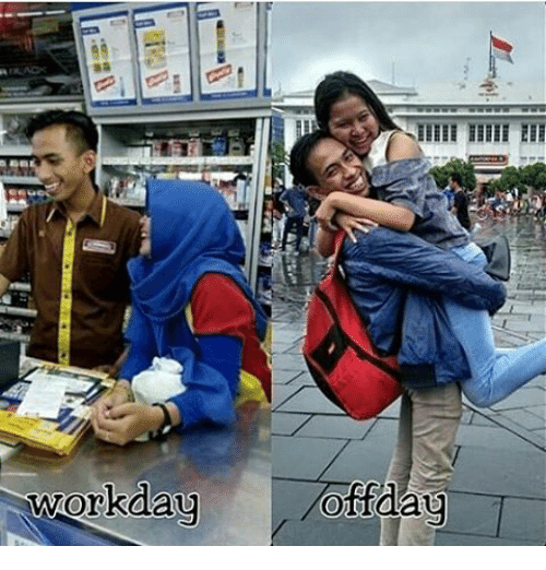 Indonesian (Language), Day, and  Days: Workday  off day