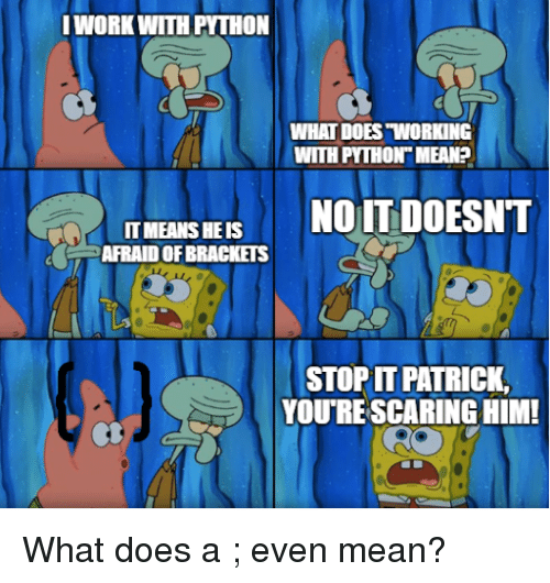 """Mean, What Does, and Python: WORKWITH PYTHON  WHAT DOES """"WORKING  WITH PYTHON MEAN?  IT MEANS HE IS  AFRAID OF BRACKETS  STOP PATRICK,  YOU'RE SCARING HIM What does a ; even mean?"""