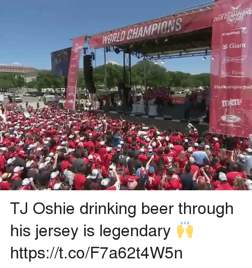 45aaec2509c WORLD Capitalo Giant Red River TJ Oshie drinking beer through his jersey is  legendary 🙌 https