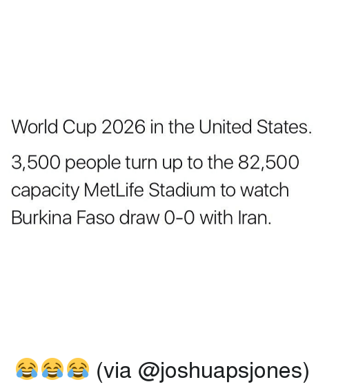 Memes, Turn Up, and World Cup: World Cup 2026 in the United States.  3,500 people turn up to the 82,500  capacity MetLife Stadium to watch  Burkina Faso draw 0-0 with Iran. 😂😂😂 (via @joshuapsjones)