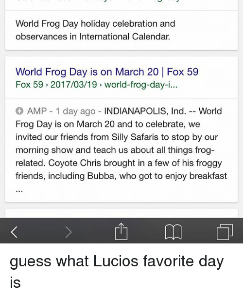 World Frog Day Holiday Celebration And Observances In International