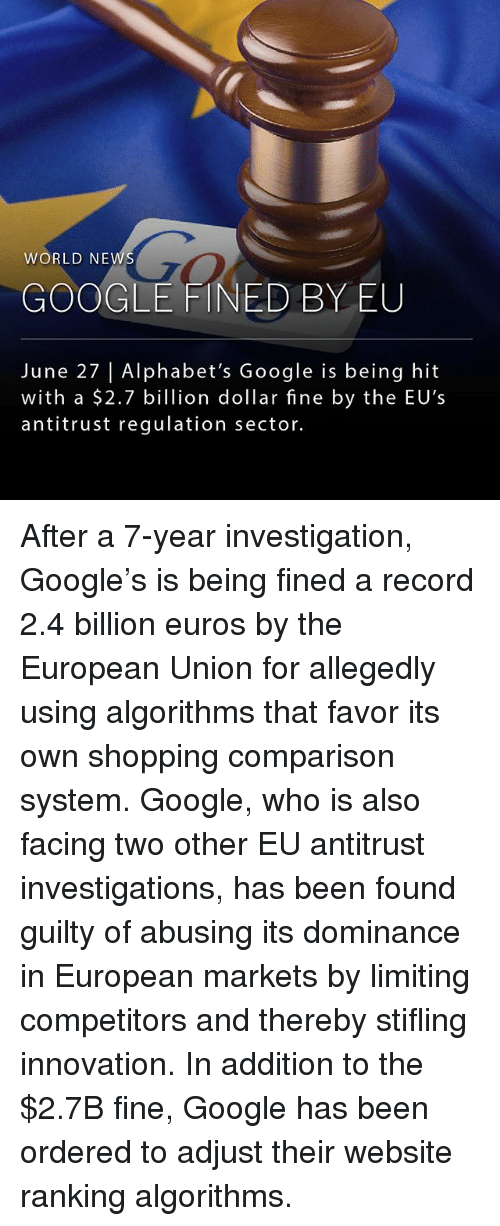 Google, Memes, and Shopping: WORLD NEW  GO  GOOGLE FINED BY EU  June 27 |Alphabet's Google is being hit  with a $2.7 billion dollar fine by the EU's  antitrust regulation sector. After a 7-year investigation, Google's is being fined a record 2.4 billion euros by the European Union for allegedly using algorithms that favor its own shopping comparison system. Google, who is also facing two other EU antitrust investigations, has been found guilty of abusing its dominance in European markets by limiting competitors and thereby stifling innovation. In addition to the $2.7B fine, Google has been ordered to adjust their website ranking algorithms.