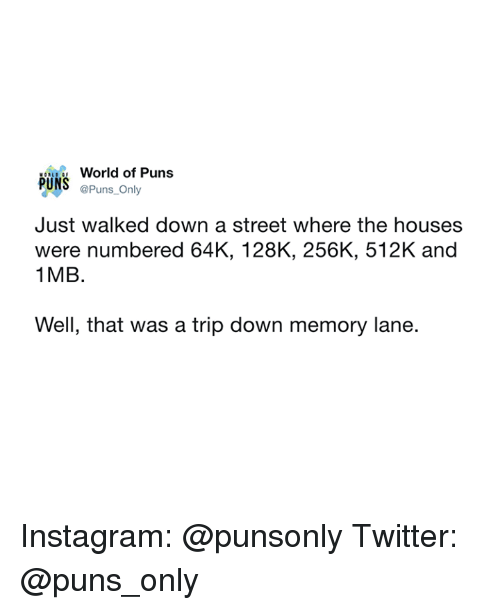 Instagram, Puns, and Twitter: World of Puns  PUNS @Puns Only  Just walked down a street where the houses  were numbered 64K, 128K, 256K, 512K and  1 MB.  Well, that was a trip down memory lane. Instagram: @punsonly Twitter: @puns_only
