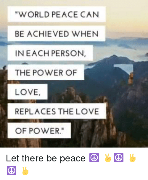 can world peace be achieved