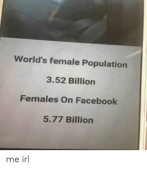 Facebook, Irl, and Me IRL: World's female Population  3.52 Billion  Females On Facebook  5.77 Billion me irl