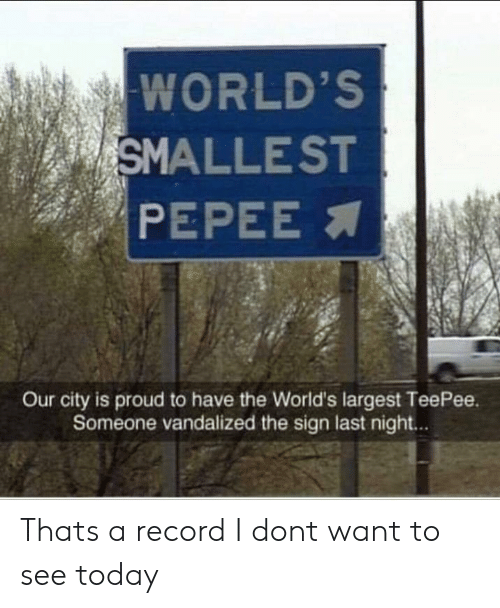 Record, Today, and Proud: WORLD'S  SMALLEST  PEPEE  Our city is proud to have the World's largest TeePee.  Someone vandalized the sign last night.. Thats a record I dont want to see today