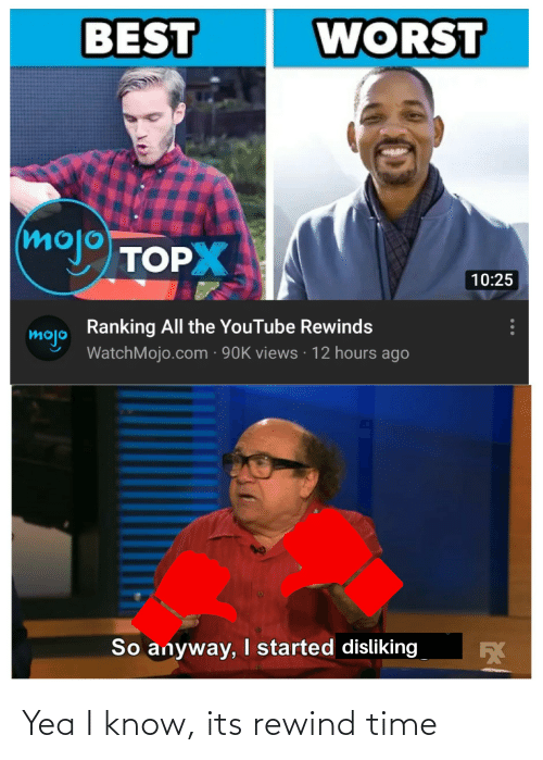 youtube.com, Best, and Time: WORST  BEST  moj TOP  10:25  Ranking All the YouTube Rewinds  mojo  WatchMojo.com · 90K views · 12 hours ago  So anyway, started disliking Yea I know, its rewind time