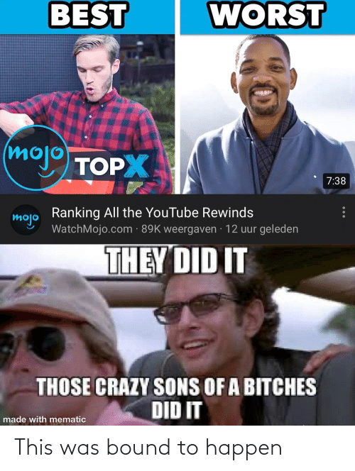 Crazy, Reddit, and youtube.com: WORST  BEST  (mojo  TOPX  7:38  Ranking All the YouTube Rewinds  mojo  WatchMojo.com · 89K weergaven · 12 uur geleden  THEY DID IT  THOSE CRAZY SONS OF A BITCHES  DID IT  made with mematic This was bound to happen