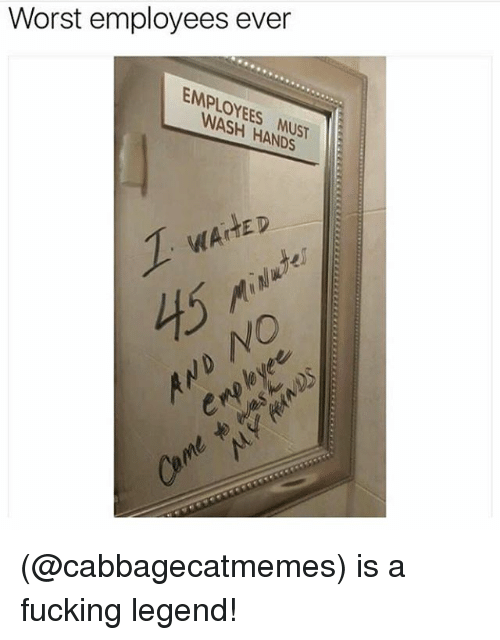 Fucking, Funny, and Meme: Worst employees ever  EMPLOYEES MUST  YEES MUST  WAiTED  45  0 (@cabbagecatmemes) is a fucking legend!