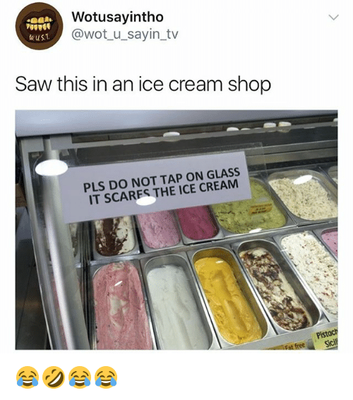 Saw, Ice Cream, and Girl Memes: Wotusayintho  @wot u_sayin_tv  Saw this in an ice cream shop  PLS DO NOT TAP ON GLASS  IT SCARES THE ICE CREAM  Pistach  sicl 😂🤣😂😂