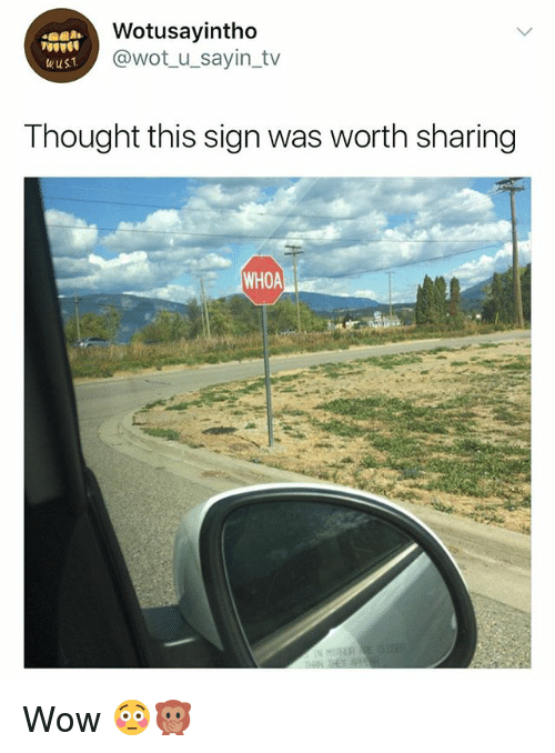 Wow, Girl Memes, and Thought: Wotusayintho  @wot_u_sayin_tv  wus1  Thought this sign was worth sharing  WHOA Wow 😳🙊