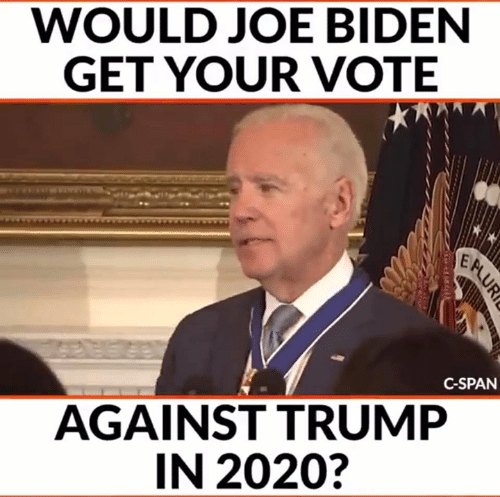 Joe Biden, Memes, and Trump: WOULD JOE BIDEN  GET YOUR VOTE  C-SPAN  AGAINST TRUMP  IN 2020?