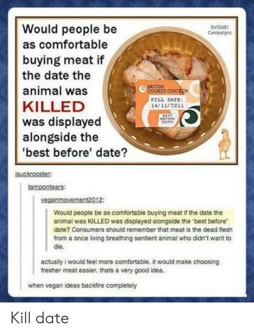 Comfortable, Vegan, and Animal: Would people be  as comfortable  buying meat if  the date the  animal was  KILLED  was displayed  alongside the  best before' date?  EVOLVE  Campaign  COOKE  KILL DATE  14/11/2011  suckrooster  tampontears  veganmovement2012:  Would people be as comfortable buying meat if the date the  animal was KILLED was displayed alongside the 'best before  date? Consumers should remember that meat is the dead flesh  from a once living breathing sentient animal who didn't want to  die.  actually i would feel more comfortable. it would make choosing  fresher meat easier. thats a very good idea.  when vegan ideas backfire compietely Kill date