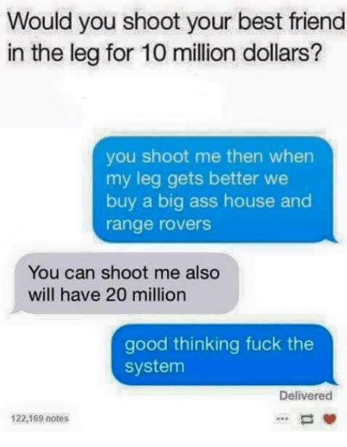Ass, Best Friend, and Memes: Would you shoot your best friend  in the leg for 10 million dollars?  you shoot me then when  my leg gets better we  buy a big ass house and  range rovers  You can shoot me also  will have 20 million  good thinking fuck the  system  Delivered  122,169 notes