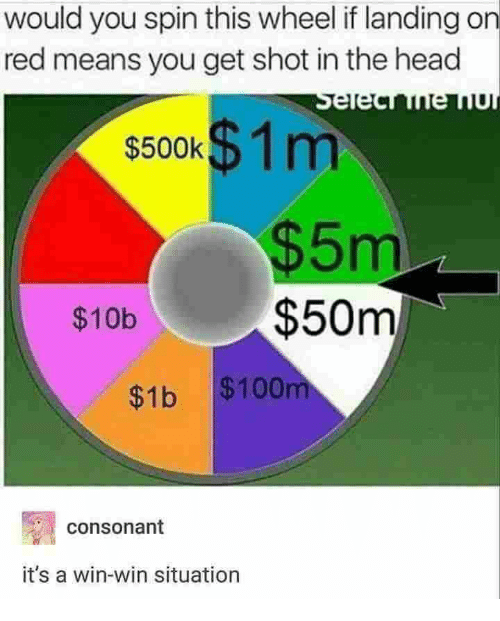 Anaconda, Head, and Red: would you spin this wheel if landing on  red means you get shot in the head  s500K$1 m  5m  $50m  $10b  $1b $100  consonant  it's a win-win situation
