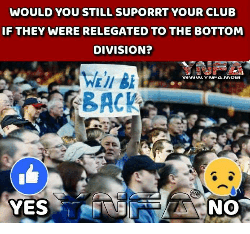 Club, Memes, and Back: WOULD YOU STILL SUPORRT YOUR CLUB  IF THEY WERE RELEGATED TO THE BOTTOM  DIVISION?  Pe  WWW.YAİFA.MOBi  BACK  YES  NO