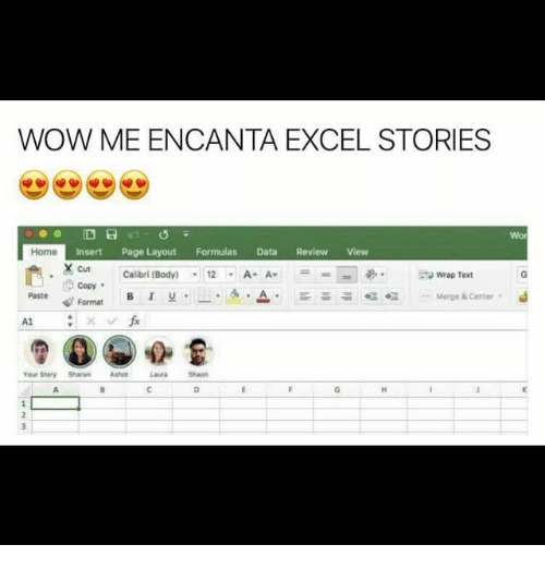 Memes, 🤖, and Page: WOW MEENCANTA EXCEL STORIES  a  Home  Insert Page Layout Formulas Data Review View  X cut Calibri (Body)  12 A- A  to wrap Text  Copy  Paste Format  Merge & Center  Your Story Sharon  Ashot