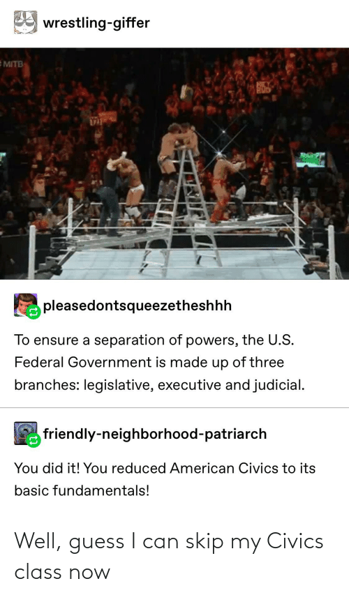 Tumblr, Wrestling, and American: wrestling-giffer  EMITB  pleasedontsqueezetheshhh  To ensure a separation of powers, the U.S.  Federal Government is made up of three  branches: legislative, executive and judicial.  friendly-neighborhood-patriarch  You did it! You reduced American Civics to its  basic fundamentals! Well, guess I can skip my Civics class now