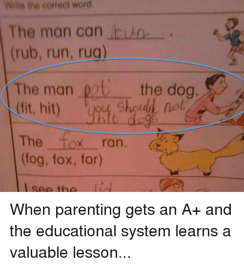 Dogs, Memes, and Rugs: Write the correct word.  The man can  (rub, run, rug)  The man  pot the dog  (fit, hit)  The  toy ran.  7  (fog, fox, for) When parenting gets an A+ and the educational system learns a valuable lesson...