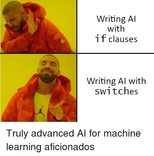 Machine Learning, For, and Machine: Writing Al  with  i f clauses  Writing Al with  switches Truly advanced AI for machine learning aficionados