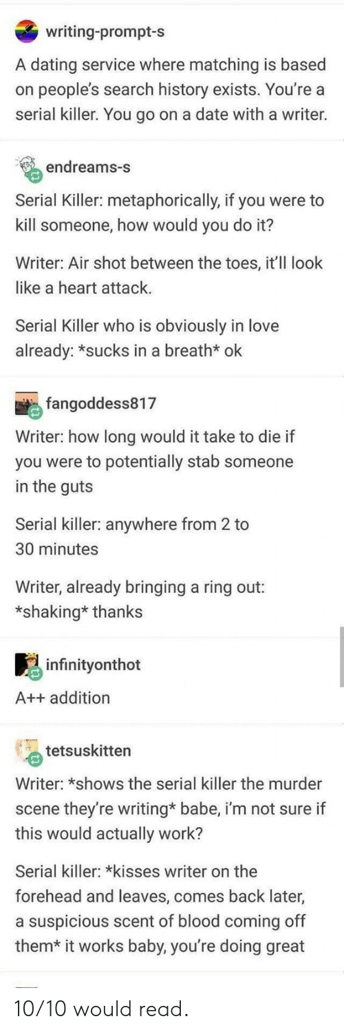 Dating, Love, and Work: writing-prompt-s  A dating service where matching is based  on people's search history exists. You're a  serial killer. You go on a date with a writer.  endreams-S  Serial Killer: metaphorically, if you were to  kill someone, how would you do it?  Writer: Air shot between the toes, it'll look  like a heart attack  Serial Killer who is obviously in love  already: *sucks in a breath* ok  fangoddess817  Writer: how long would it take to die if  you were to potentially stab someone  in the guts  Serial killer: anywhere from 2 to  30 minutes  Writer, already bringing a ring out:  *shaking* thanks  infinityonthot  A++ addition  tetsuskitten  Writer: *shows the serial killer the murder  scene they're writing* babe, i'm not sure if  this would actually work?  Serial killer: *kisses writer on the  forehead and leaves, comes back later,  a suspicious scent of blood coming off  them*  it works baby, you're doing great 10/10 would read.