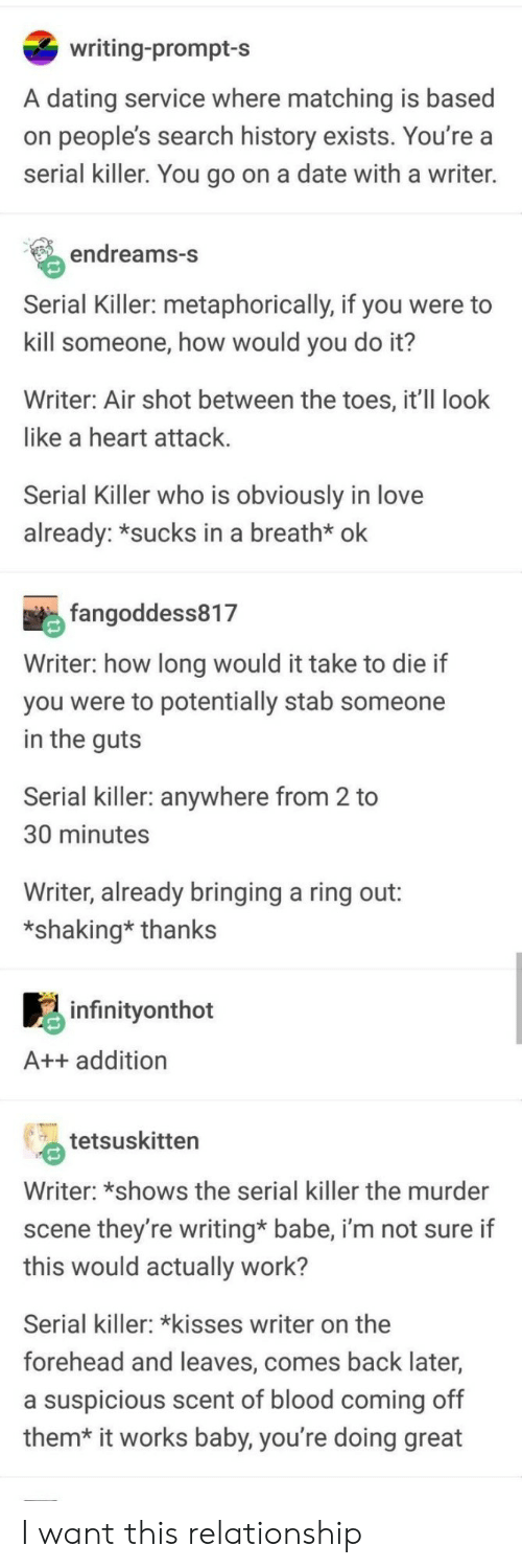 Dating, Love, and Work: writing-prompt-s  A dating service where matching is based  on people's search history exists. You're a  serial killer. You go on a date with a writer.  endreams-S  Serial Killer: metaphorically, if you were to  kill someone, how would you do it?  Writer: Air shot between the toes, it'II look  like a heart attack  Serial Killer who is obviously in love  already: *sucks in a breath* ok  fangoddess817  Writer: how long would it take to die if  you were to potentially stab someone  in the quts  Serial killer: anywhere from 2 to  30 minutes  Writer, already bringing a ring out:  *shaking* thanks  infinitvonthot  A++ addition  tetsuskitten  Writer: *shows the serial killer the murder  scene they're writing* babe, i'm not sure if  this would actually work?  Serial killer: kisses writer on the  forehead and leaves, comes back later,  a suspicious scent of blood coming off  them* it works baby, you're doing great I want this relationship