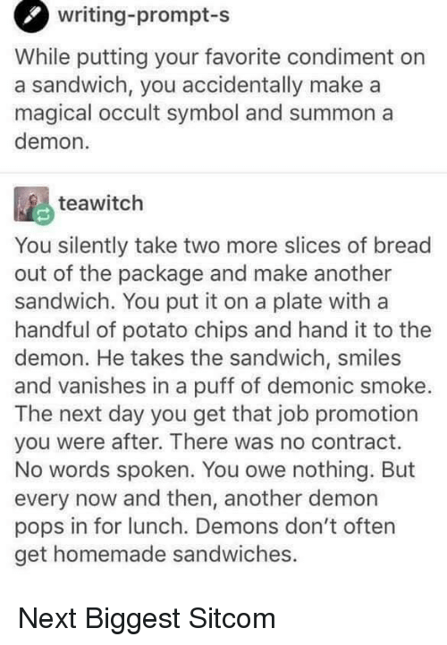 Writing-Prompt-S While Putting Your Favorite Condiment on a Sandwich ...