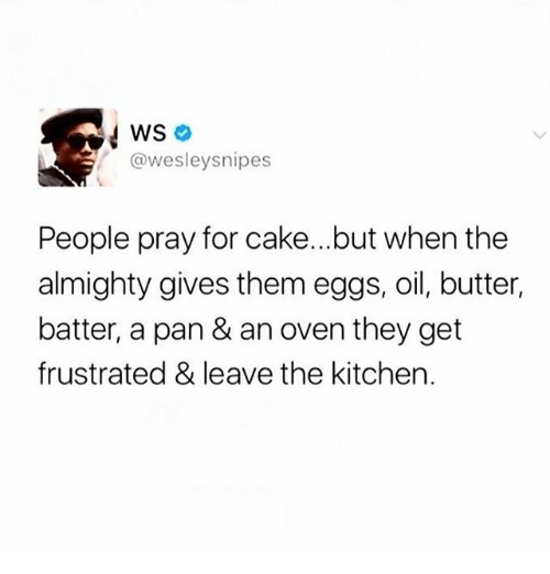 Memes, Cake, and 🤖: WS  @wesleysnipes  People pray for cake...but when the  almighty gives them eggs, oil, butter,  batter, a pan & an oven they get  frustrated & leave the kitchen.