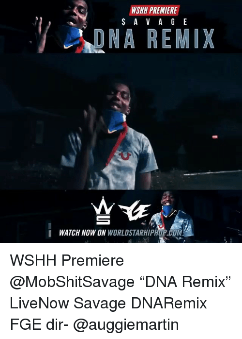 "Memes, Savage, and Wshh: WSHH PREMIERE  DNA REMIX  I WATCH NOW ON WORLDSTARHIPHUP.COM WSHH Premiere @MobShitSavage ""DNA Remix"" LiveNow Savage DNARemix FGE dir- @auggiemartin"