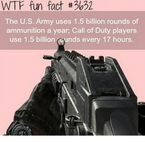 Memes, Wtf, and Army: WTF fun fact #3632  The U.S. Army uses 1.5 billion rounds of  ammunition a year, Call of Duty players  use 1.5 billion ounds every 17 hours