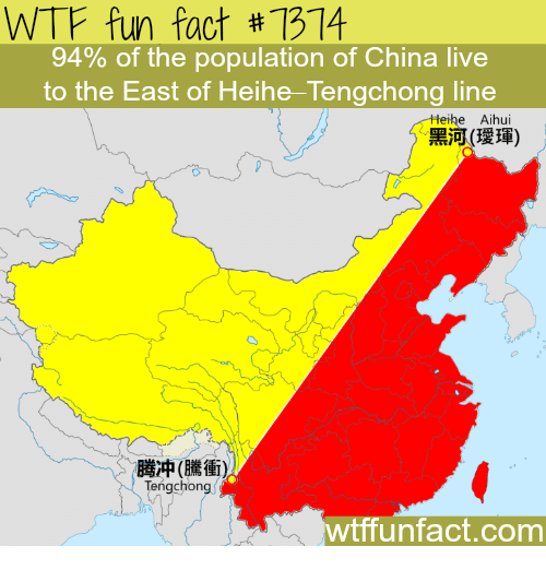 WTF Fun Fact #7374 94% of the Population of China Live to