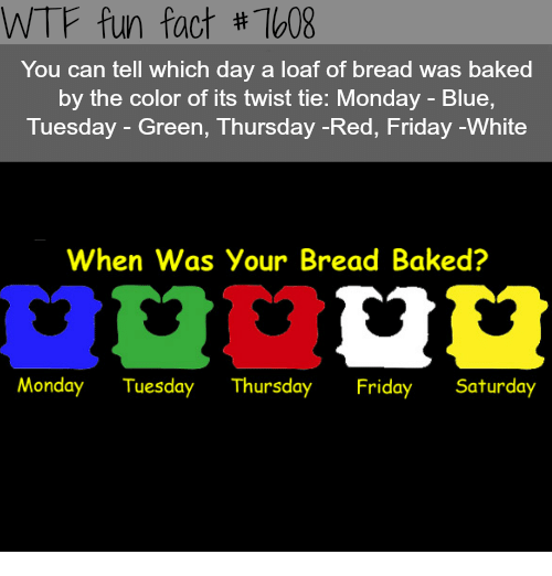Baked, Friday, and Wtf: WTF fun fact #7608  You can tell which day a loaf of bread was baked  by the color of its twist tie: Monday - Blue,  Tuesday - Green, Thursday -Red, Friday -White  When Was Your Bread Baked?  Monday Tuesday ThursdayFriday Saturday