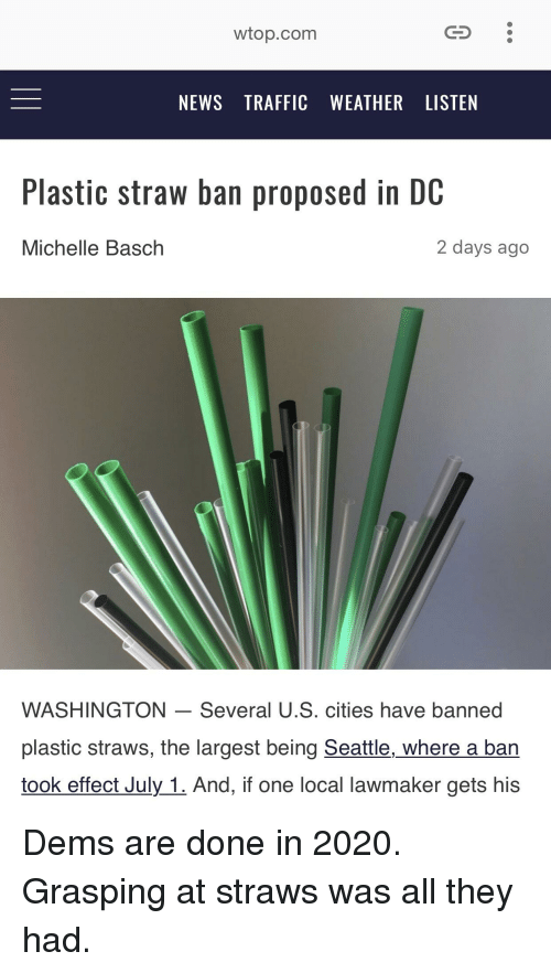 Image result for seattle straw ban meme