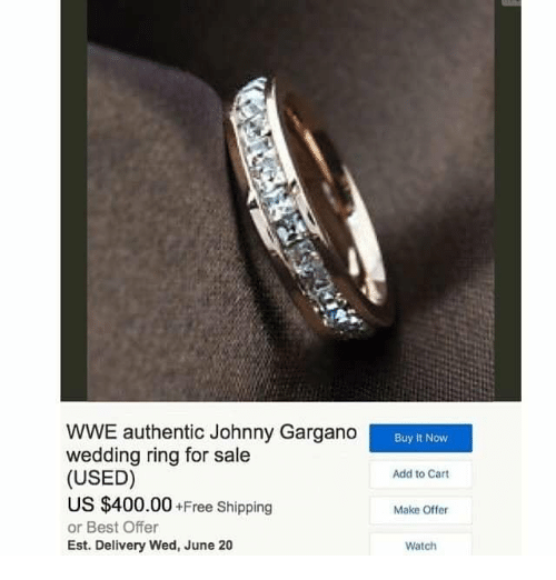 80815aebe455 World Wrestling Entertainment, Best, and Free: WWE authentic Johnny Gargano  wedding ring for