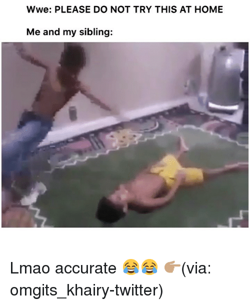 Funny, Lmao, and Twitter: Wwe: PLEASE DO NOT TRY THIS AT HOME  Me and my sibling: Lmao accurate 😂😂 👉🏽(via: omgits_khairy-twitter)