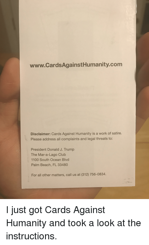 Wwwcardsagainsthumanitycom Disclaimer Cards Against Humanity Is A