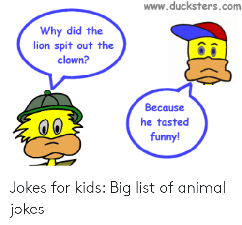 Wwwducksterscom Why Did the Lion Spit Out the Clown? Because