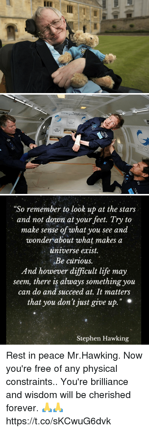 "Life, Memes, and Stephen: www.goZeroG.com  zero  zero   ""So remember to look up at the stars  and not down at your feet. Try to  make sense of what you see and  wonder about what makes a  universe exist.  Be curious.  And however difficult life may  seem, there is always something you  can do and succeed at, It matters  that you don't just give up  Il  Stephen Hawking Rest in peace Mr.Hawking. Now you're free of any physical constraints.. You're brilliance and wisdom will be cherished forever. 🙏🙏 https://t.co/sKCwuG6dvk"