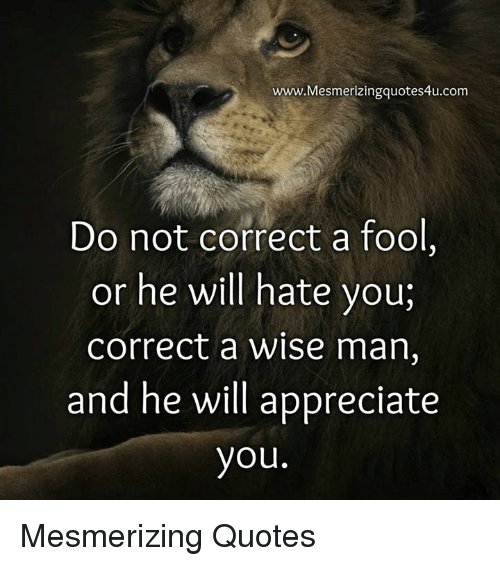 Wwwmesmerizingquotes4ucom Do Not Correct A Fool Or He Will Hate You