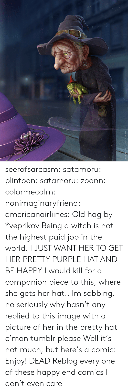 Tumblr, Blog, and Deviantart: www.veprikov.com seerofsarcasm: satamoru:  plintoon:  satamoru:  zoann:  colormecalm:  nonimaginaryfriend:  americanairliines:  Old hag by *veprikov Being a witch is not the highest paid job in the world.  I JUST WANT HER TO GET HER PRETTY PURPLE HAT AND BE HAPPY  I would kill for a companion piece to this, where she gets her hat..  Im sobbing.  no seriously why hasn't any replied to this image with a picture of her in the pretty hat c'mon tumblr please  Well it's not much, but here's a comic:   Enjoy!   DEAD  Reblog every one of these happy end comics I don't even care