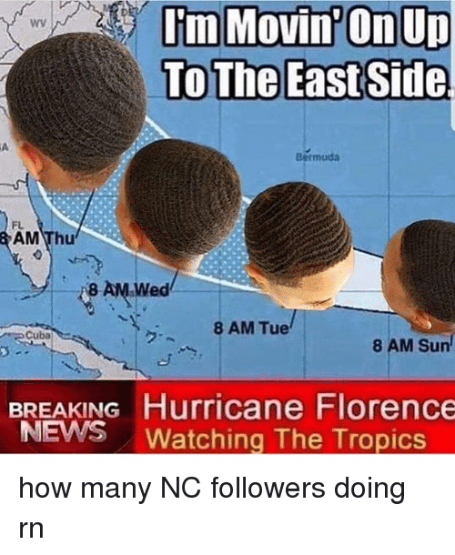 Memes, News, and Bermuda: wy  To The East Side  Bermuda  FL  AM Thu  8 AM.Wed  8 AM Tue  Cuba  ク.  8 AM Sun  BREAKING Hurricane Florence  NEWS Watching The Tropics how many NC followers doing rn