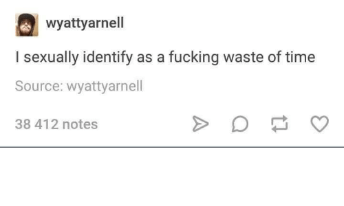 Time, Source, and Notes: wyattyarnell  I sexually identify as a fucking waste of time  Source: wyattyarnell  38 412 notes