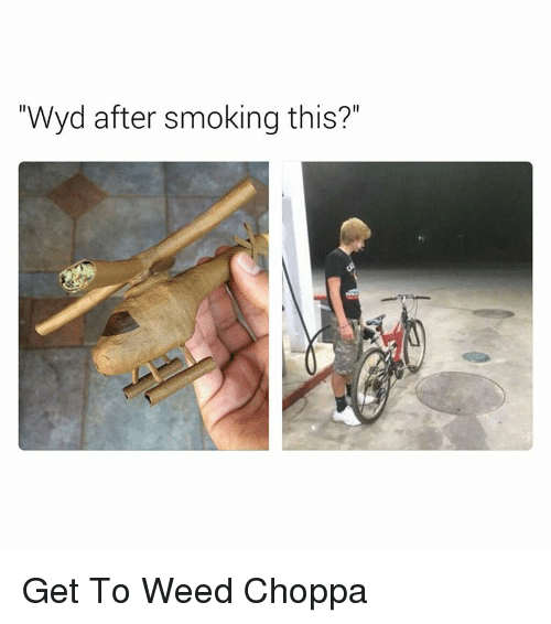 """Memes, 🤖, and Choppa: """"Wyd after smoking this?"""" Get To Weed Choppa"""